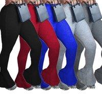 Vintage Activewear mulheres elásticas pernas largas ruffles flare calças leggings calças de cintura alta calças cortantes