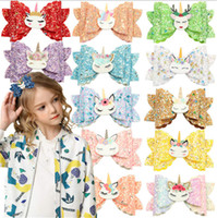 Niños niñas de dibujos animados unicornio unicornio brillo horquillas PU cuero arco nudo peluquero peinado clips de pelo lindo bowknot barrettes bebé tocado e123104