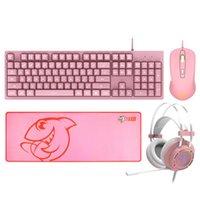 4 в 1 Эргономичный Мембранная клавиатура и мышь Наушники и Mousepad Комбо 104 Key Keyboard 5000DPI Проводная Gaming Mice RGB гарнитура