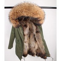 Real Casaco de pele Long Parka Outerweat Nova Moda Natural Raccoon Collar Colar Fox Fur Inside Winter Jacket Mulheres Outerwear Novo 201029