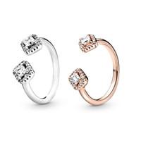 جديد التألق الدائري تشيكوسلوفاكيا الماس حلقات مفتوحة المرأة مجوهرات ل باندورا 925 فضة خاتم الزواج مجموعة مع المربع الأصلي