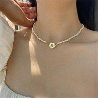Chokers KPOP ретро натуральные пресноводные жемчужины ожерелье короткий колье Цветочная цепочка ключицы для женщин вечеринка эстетических украшений подарок