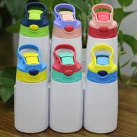 12 أوقية التسامي سيبي كوب 350 ملليلتر التسامي زجاجة المياه الأطفال مع غطاء القش المحمولة الفولاذ المقاوم للصدأ شرب البهلوان للأطفال FY4309