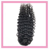 Brésilien Human Hair Vague Profond Vague 8-26inch Profond Curly Indian Virgy Extensions De Cheveux Vierge Non traité Produits de Cheveux Pony queue Couleur naturelle
