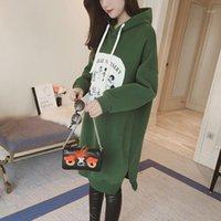 여성용 후드 스웨터 Tilewon 여성 양털 솔리드 컬러 후드 겨울 긴 만화 인쇄 캐주얼 pullovers1