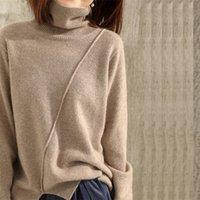 Jumpers doux lâches pour femmes col roulé chaleureux pull chaud cachemire et laine pulls en laine dames 3Colors vêtements standard 201023