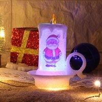 Noel Süsleri Gece Işığı Mum Işığı LED Elektronik alevsiz Mum Kardan adam Işık Noel Masaüstü Süsler w-00414