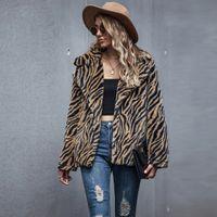 Las mujeres felpa del invierno chaqueta de la capa patrón de la moda otoño de tigre Impreso de solapa casual peluche grueso Outwear Mujer CS2057