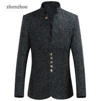 Zhenzhou Blazer Hommes Automne Nouveau Style Stand Collier Male Blazer Slim Fit Mens Blazer Veste Plus Taille M- Haute Qualité LJ201223