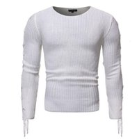 Mode Slim Fit Casual Hommes Pull à manches longues Ties latérales o cou en tricot SWETER Hommes Pull Pulls Homme Casaco Masculino