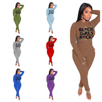 1 set / drop shipping Ladies Black Girls Rock Letter Outfits 2021 Style Spring Tracksuit 2piece Abbigliamento Cagliata con cappuccio Camicetta e leggings E122407