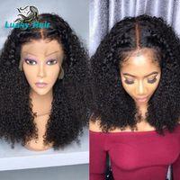 Luasy Derin Kıvırcık Dantel Açık Peruk İnsan Saç Peruk Gerçek Doğal Kısa Uzun Dalga Tutkalsız Dantel Kapatma Peruk Prelucked Hairline