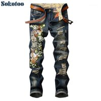 Männer Jeans Sokotoo Herrenlöcher Rissene Mode Slim Distressed Trendy Denim Pants1