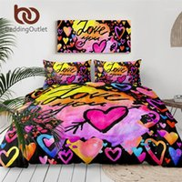 BeddingOutlet Love You Setting Set Letters Hearts Duvet Funda Acuarela Edredón Cubierta Cara colorida 3pcs Día de San Valentín Regalo1