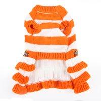 Haustier Hund Kleidung Herbst und Winter Streifen Kleid Stricken Bug Rock Verdickung Halten Sie warme Welpenbekleidung 16DG UU