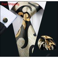 Astratto giallo mens cravatta tasca tasca quadrato gemelli set 8.5 cm larghezza riunione riunione business casual party cravatta Qyleec dh_seller2010