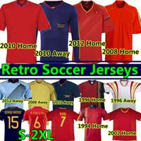 1994 1996 2002 2008 2010 2012 스페인 레트로 축구 유니폼 빈티지 클래식 A.Iniesta Torres Raul Xavi David Villa 긴 소매 축구 셔츠