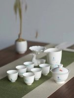 Abiti Nuevedeer Jade porcellana di porcellana Gaiwan Homewear Kung Fu Tea Set White Porcelain Tea Cup Fiera Logo personalizzabile
