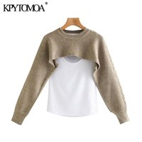KPYTOMOA Women 2020 Fashion With T-shirt Patchwork Knitted Sweater Vintage O Neck Long Sleeve Female Pullovers Chic Tops