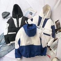 Зима новое пальто мужская теплая густая мода парки мужчины крест цвет хлопок с капюшоном пальто человек дикий свободный инструментальный пиджак мужская одежда Mgin #