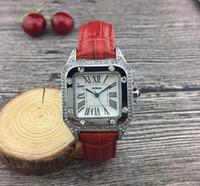 Fashoin Estilo Quadrado Designer Mulheres Assista Movimento De Quartzo Diamante Gelado De Alta Qualidade Vestido De Couro Relógios Lady Relógio Montre de Luxe