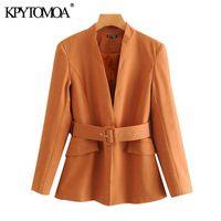 Women's Two Piece Pants KPYTOMOA Women 2021 Chic Fashion Office Wear With Belt Blazer Coat Vintage High Waist Side Pockets Suits Female Oute