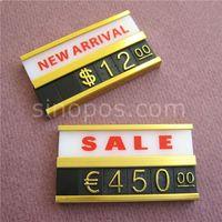 Рамы алюминиевые рамки комбинированные ценники теги два ряда, продажа этикетки линейки ювелирные изделия мода мебели таблицы настенный дисплей металлический базовый знак