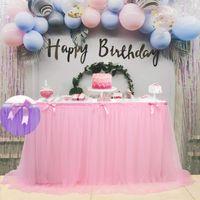 450 * 76 cm Decorazione tavola dolce Decorazione Della Doccia Decorazioni Tutu Panno Panno Pink Tulle Gonna Romantico Matrimonio Compleanno Party Favore 201007