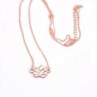 Trendy Lotus-Anhänger-Halskette höhlen heraus Entwurf Zink-Legierung Material Werk Blumen-Reihe Halskette Drei Farbe Optional