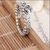 Mode-sieraden Dames Ring Europese Stijl Charm Ring Hoogwaardige 100% 925 Sterling Silver Princess Tiara Ring met duidelijke PS1677