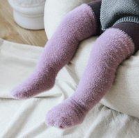 Детские носки Сплошной цвет младенца Over-The-Knee чулки Зима Ферре Утолщение Straight Board Средний Tube штабелях носки KKB2792