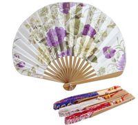 100pcs fan de la main de style japonais satin shell tissu fan cotillons cadeau