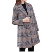 Women's Jackets Women Fashion Turn Down Collar Double-breasted Plaid Print Cashmere Long Coat Sport Jacket #YB40