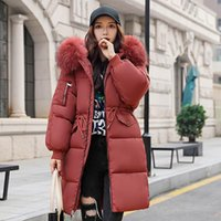 Women's Down & Parkas 3XL Plus Size Cotton Padded Winter Jackets Hooded Fur Collar Long Coat Adjustable Waist Thicken Puffer Jacket C6692