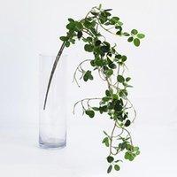 Flores decorativas grinaldas planta artificial verde banyan ramos folhas plásticas Ranttan LifeLike Home árvore Folha Falsa Vine1