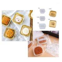 Grame-cadeau 100pcs Square Moon Cake Cake Plateaux Or Blanc 50 / 63-80 / 100g MoonCake Boîte de conteneur Porte-conteneurs Mid-Automne Festival Cadeau1