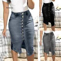 Saias Rebicoo Mulheres Saia Curto Denim Para Botões Plus Botões Bolsos Split Bandage Jeans High Waist1