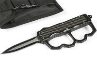 Alta Qualidade Negra Dústico Auto Tactical Faca 440C Borda Dupla Lâmina Preta Liga de Liga de Fibra Carbono Punho de Fibra Ao Ar Livre Facas de Sobrevivência