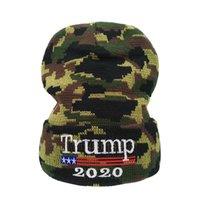 Trump Camouflage Hut Herren Winter Kopfbedeckung Knicken 2020 USA Frauen Halten Sie warme Beanie-Kappe Hohe Qualität 8 5lm G2