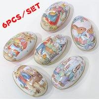 6 Pieces Pasqua Bunny Dress Stampa Lega in lega di metallo Tinket Stagno Uova di Pasqua Shaped Candy Box Stagnata Caso Decorazione del partito LJ200812