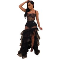 NightClub Style Femme Robes Noires Pour Femme Sans manches Sans Bretelles Sling Robe Chaude Perspective Perspective Cascade Robe sexy à volants