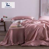 LIV-ESTHETE أعلى درجة 100٪ الحرير الوردي الفراش مجموعة التوت 25 الأم نساء السرير ورقة غطاء لحاف مجموعة وسادة الملكة الملك السرير مجموعة 201128