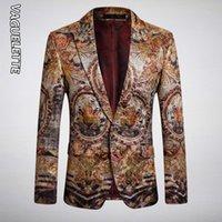 Vaguelette Luxury Tiger motif imprimé Blazers Slim Fit Wedding Stage Club Wear Pour les chanteurs animaux Blazer Imprimer Manteau Veste