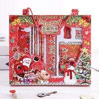 Notepades Rouge Étudiante Cute Stationery Ensembles Boîtes de cadeaux de Noël pour enfants Pencle Gomme Gomme Règle Prix promotionnels Set1