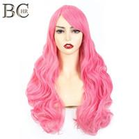 """Shanghair 24 """"여성을위한 긴 파도 합성 가발 Cosplay 가발 금발 핑크 회색 오렌지 블랙 브라운 머리 할로윈 가발"""