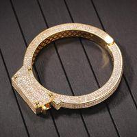 Hip hop punk manette braccialetto rame intarsiato zircone cubico zircone retrò coppia bracciale gioielli