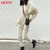 OOTN Women' s V neck High Waist jumpsuits Straight Elast...