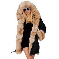 Womens Faux Fur Coats Large Size Fleece Winter Jacket Hooded Coat Fishtail Long Sleeves Luxury Plush Thick Warm Overcoat Oc8