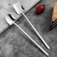 Acero inoxidable Mango largo Helado Oficina Oficina Café Postre Cuchara Cucharas Tamas Sujetador Accesorios de Cocina Herramientas 1
