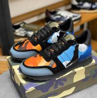 Top Qualität Camouflage Sneaker Womens Herren Nietschuhe Nieten Wohnungen Mesh Camo Wildleder Leder Lässige Trainer Rockrunner Schuhe